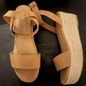 Rubi Tan Platform Wedge Sandals